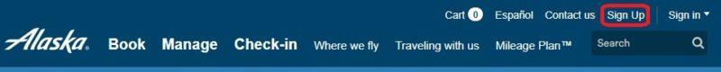 アラスカ航空マイレージプラン登録
