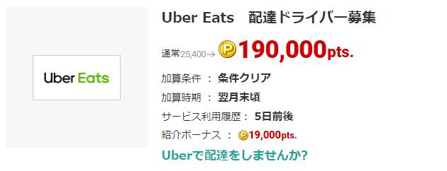 Uber Eats初回配達でポイントざくざく