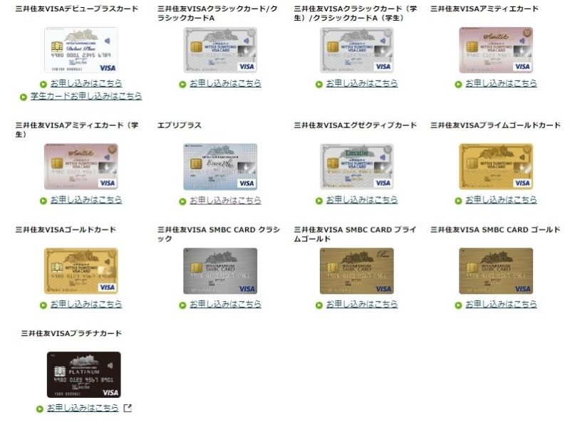 三井住友カード新規入会限定20%還元キャンペーン対象カード