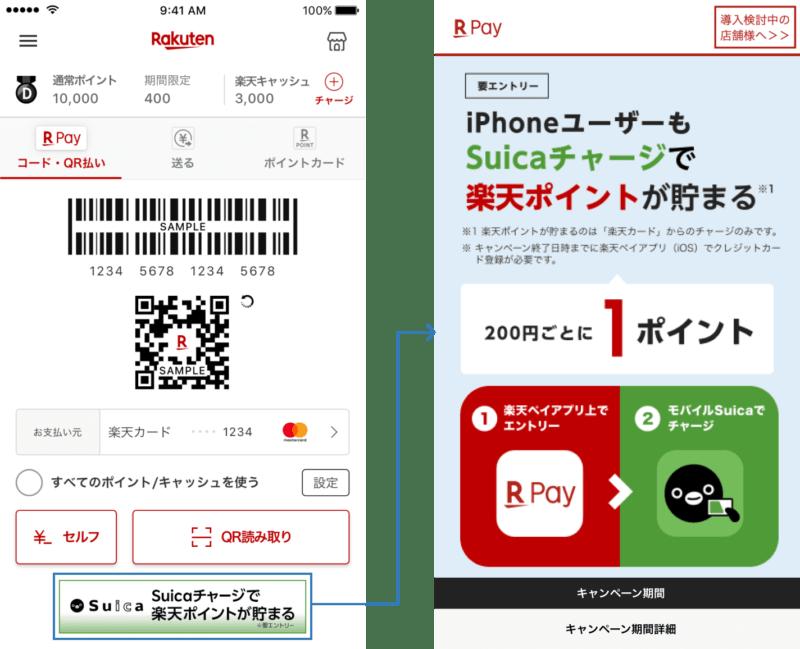 iPhone楽天ペイSuica