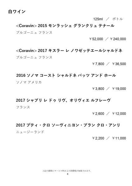 リッツカールトン東京ザ・バー メニュー